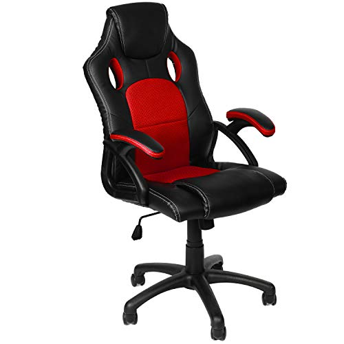 Panorama24 Gamer Stuhl Gaming Schreibtischstuhl Chefsessel Bürostuhl Ergonomisch, Rot, 9 Farbvarianten, gepolsterte Armlehnen, Wippmechanik, belastbar bis 150 kg, Lift TÜV geprüft