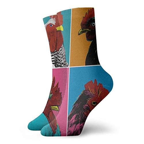 N / A Colorful Cock Crew Socks Calcetines tobilleros 30 cm para hombres y mujeres