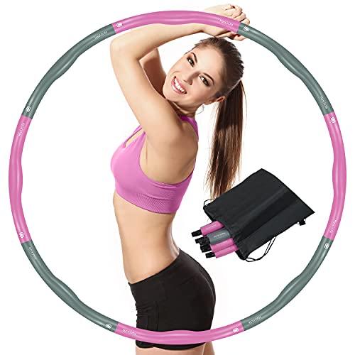 HaoLinJia Hula Hoop Adulto,Weighted Hula Hoop Ponderado Aro Fitness Desmontable con Espuma,1,2 kg para Reducción de Peso,Adecuado para Fitness Adulto y Pérdida de Peso