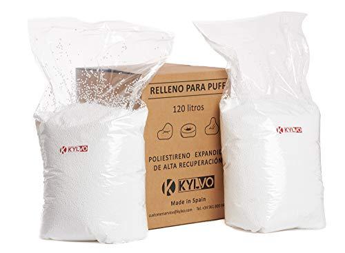 Kylvo - Relleno Puff. Bolitas de poliestireno expandido de Alta recuperación para Rellenos. 120 litros.