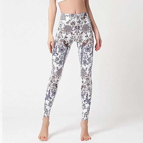 Legging Push Up,Europa y los Estados Unidos nuevos impresión digital damas medias de yoga de secado rápido elástico deportivo deportes al aire libre fitness nueve pantalones-Color de baile_L