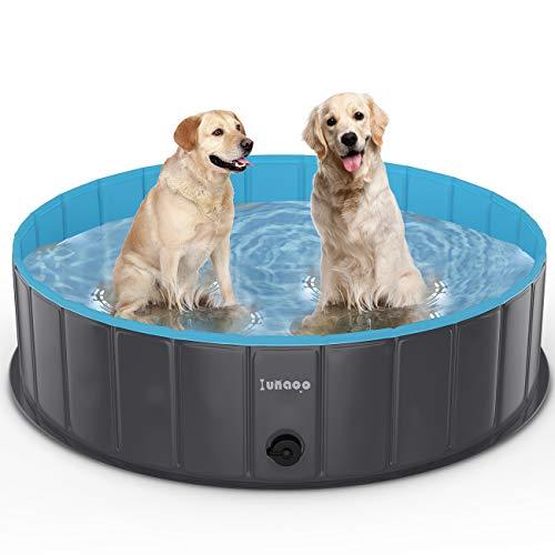 lunaoo Hundepool fur Große Hunde - Faltbare Schwimmbecken Hundebadewanne Hund Planschbecken für Kinder und Hunde, Tragbar & Eco-Friendly PVC Hunde Pool 80cm / 120cm / 160cm