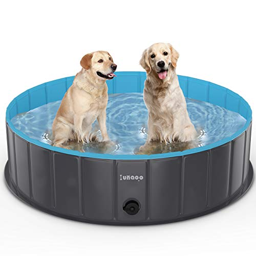lunaoo Foldable Dog Pool - Portable Kiddie Pool for Kids, PVC Bathing Tub, Outdoor Swimming Pool for Large Small Dogs