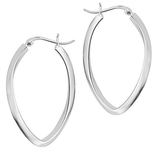 Vinani Klapp-Creolen oval kantig glänzend Sterling Silber 925 Ohrringe mit Bügel Schranken Verschluss 2CGG
