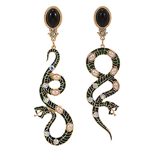 Arete Encantadores Pendientes De Perlas De Imitación Para Mujer Vintage Gótico Serpiente Oro Pendiente Largo-Oro