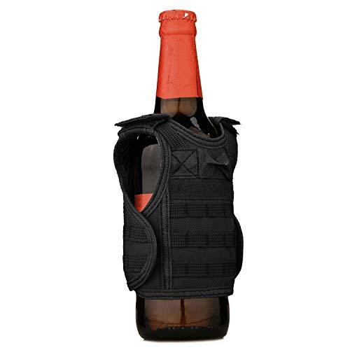 Selighting Mini Bier Weste Verstellbare Getränkehalter Molle Weste Flaschen Dekroration für Getränke Flaschen Bier (Schwarz)