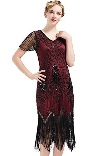 ArtiDeco - Vestido de mujer estilo años 20 con mangas cortas, disfraz de Gatsby para fiestas temáticas rojo/negro S
