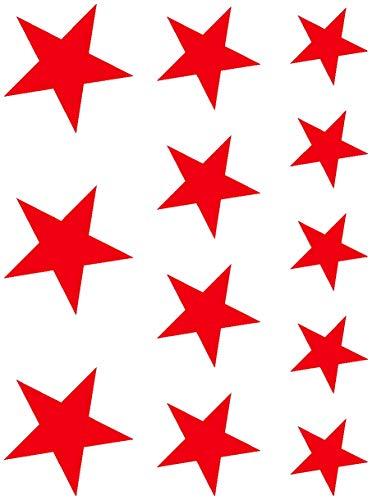 plot4u Sticker Mural étoiles Set 'Garni', Rouge 032, 15 x 20 cm