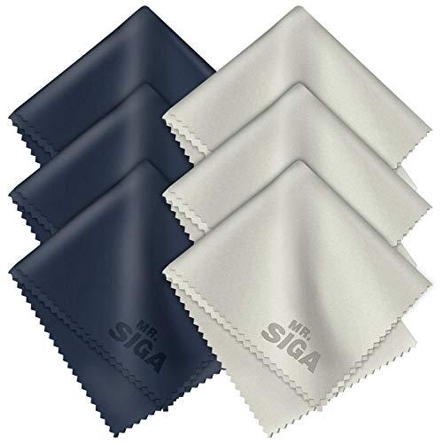 MR.SIGA Hochwertig Mikrofaser-Reinigungstücher Brillenputztuch für Brillen, Bildschirme, Tabletten, Gläser, 6er Pack, 6 x 7 Zoll (15 x 18 cm), Marine/Grau