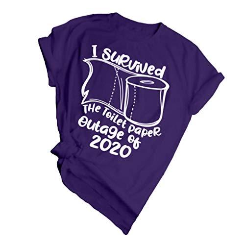 I Survived Coronavirus 2020 Impresión Camiseta de Mujer Cuello Redondo Manga Corta Verano Sciolto Tops de Túnica Detener el Nuevo Patrón de Coronavirus Camisa