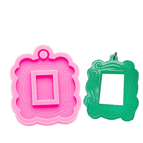 Angel Wings Scalloped Photo Frame Pendant Necklaces Silicone Molds with Hole Resin Keychain Mold with Decorative Pattern Decoration Bag Luggage Charms Molds Jewelry Making Molds Clay Molds