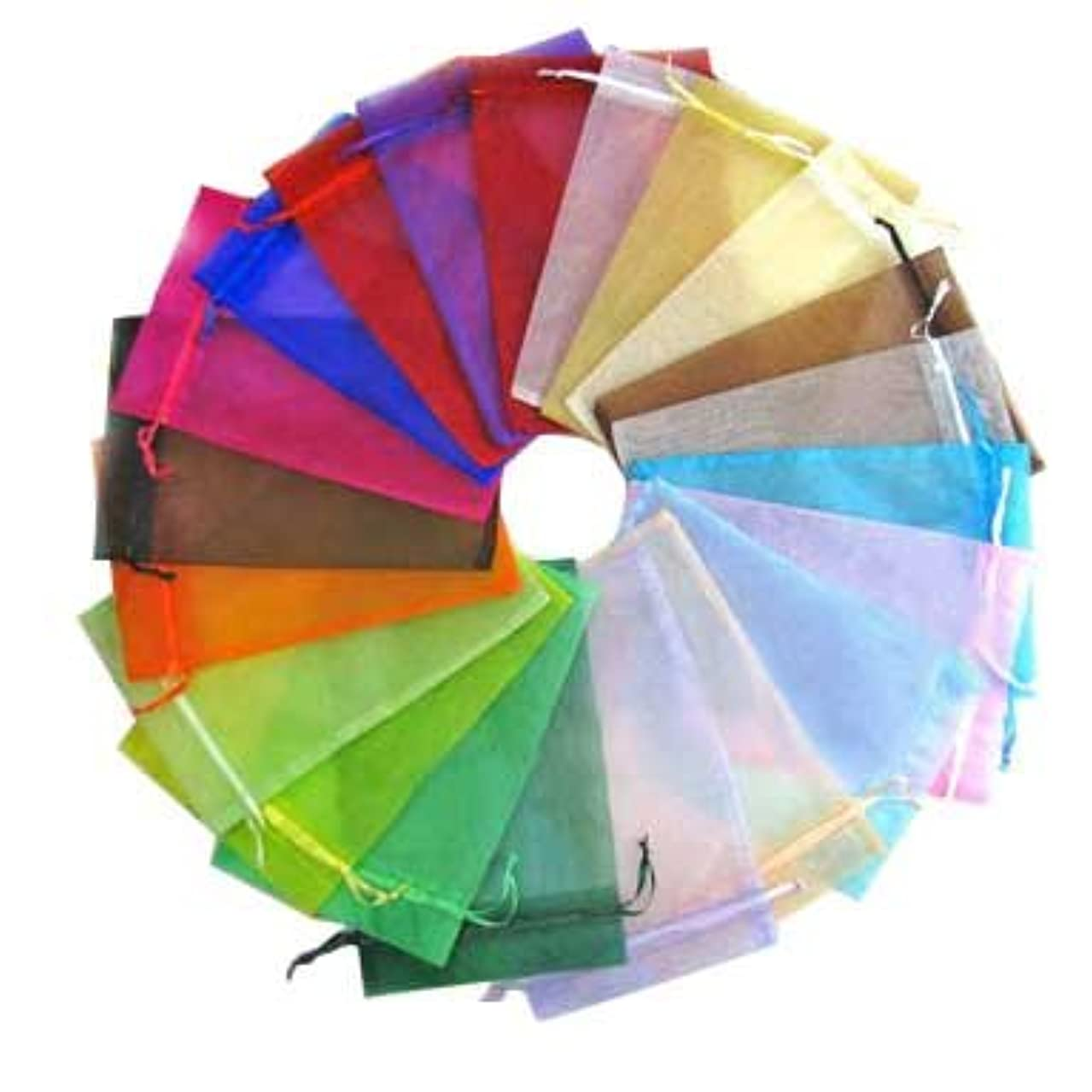 PH PandaHall 200pcs Rectangle Organza Gift Bags Drawstring Pouches for Wedding Party Christmas Warp Favor Gift Bags Mixed Color 12x9cm