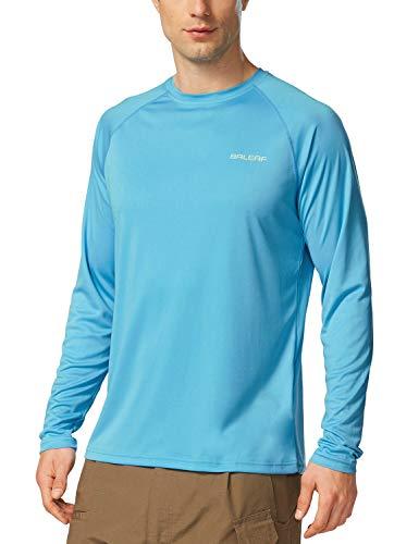 BALEAF Men's Long Sleeve Shirts Lightweight UPF 50+ Sun Protection SPF T-Shirts Fishing Hiking Running Blue Size XL