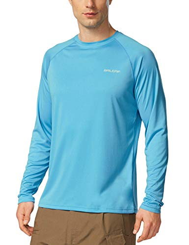BALEAF Men's UPF 50+ Outdoor Running Long Sleeve Rashguard T-Shirt Blue Size L