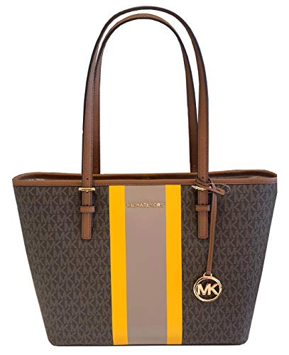 "Signature PVC, Yellow & ivory center stripe; Gold-Tone Hardware Open Top with Lobster Clasp Festinating; Fully Lined Interior Details: Front Slip Pocket, Back Zip Pocket Dual flat leather shoulder straps with approx. 9.5"" drop 13"" bottom, 16"" at top ..."