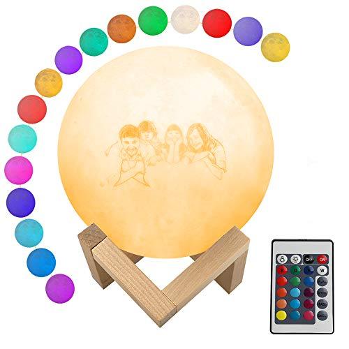 Luz nocturna personalizada con foto y texto, lámpara de luna con impresión 3D personalizada, 16 colores con soporte, control remoto y táctil y carga USB para regalo de niños