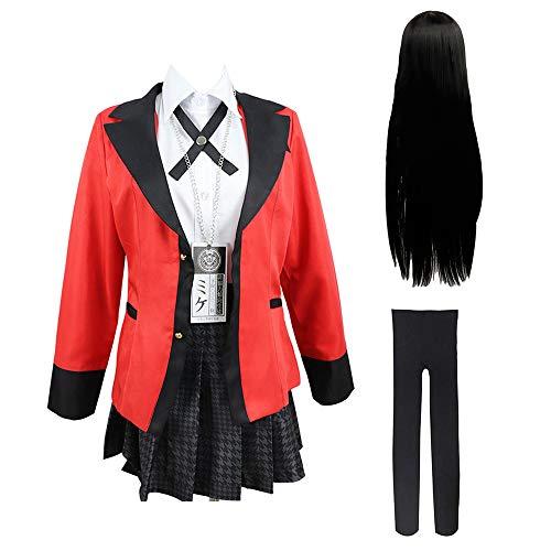 Bestcomcl Jabami Yumeko Cosplay Outfit Uniform Perücken Set Anime Kakegurui Yumeko Cosplay Kostüm Schuluniformen Komplettes Set für Frauen Mädchen