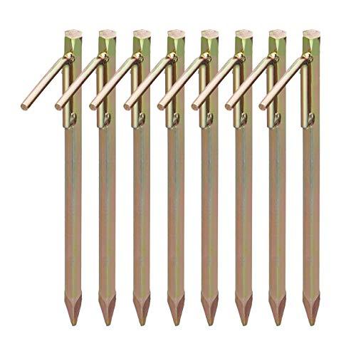 Relaxdays 8 x Bodenanker, Erdanker für Harte Böden, 30,5 cm, Zeltzubehör, zum Einschlagen, Stahl galvanisiert, Erdnagel, Gold