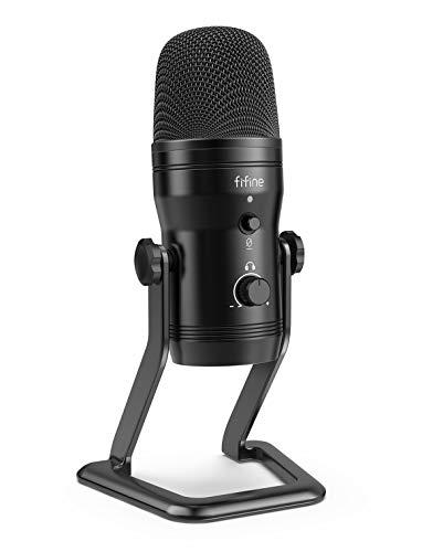 FIFINE USB Studio Recording Microphone Computer Podcast MicforPC, PS4, MacwithMuteButton&MonitorHeadphoneJack, FourPickupPatternsforVocals,YouTube,Streaming,Gaming,ASMR,Zoom-Class(K690)