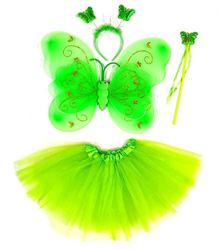 Tante Tina Costume da Farfalla per Bambina - Vestito Farfalla da Bimba in 4 Pezzi: Gonna in Tulle, Ali, Bacchetta e Cerchietto - Verde Stella - Indicato per i Bambini da 2 a 8 Anni