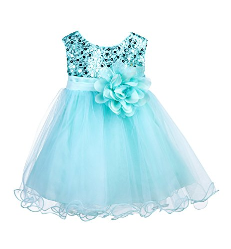 Wedding Glitter Sequin Tulle Flower Girl Dress Toddler Baby Recital Graduation Easter Pageant Birthday B-011NF Mint