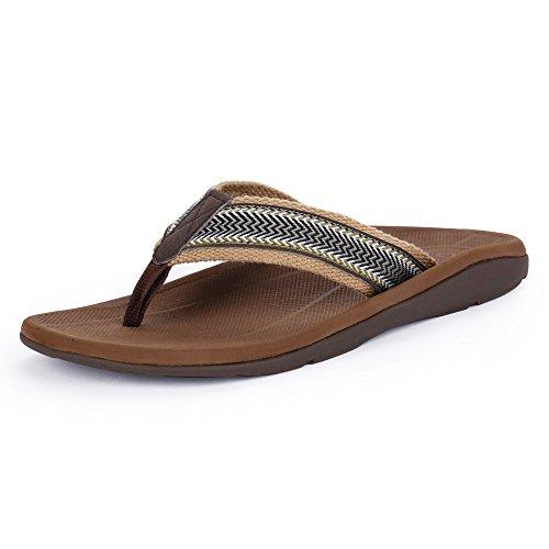 SESSOM&CO Men's Arch Support Flip-Flops Outdoor Sandals Orthotics for Plantar Fasciitis & Flat Feet (Brown EUR 46)