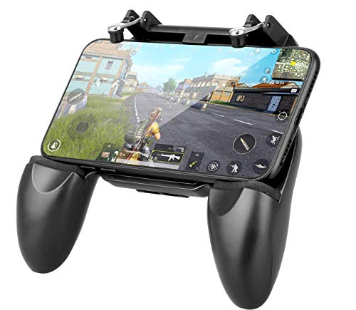 PUBG Game Controller W-10 2 in 1 Game Controller and Mobile Gamepad Holder Handle Joystick Triggers L1 R1 Shoot Aim Button (Black) by Suckey