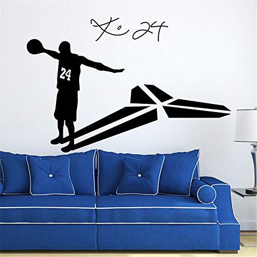 Kobe Bryant Muurtattoo Kobe Bryant 24 basketbal speler woonkamer glas muursticker wooncultuur woonkamer decoratie Chanel oorbellen BTS sticker muursticker 59.4x39.6 cm