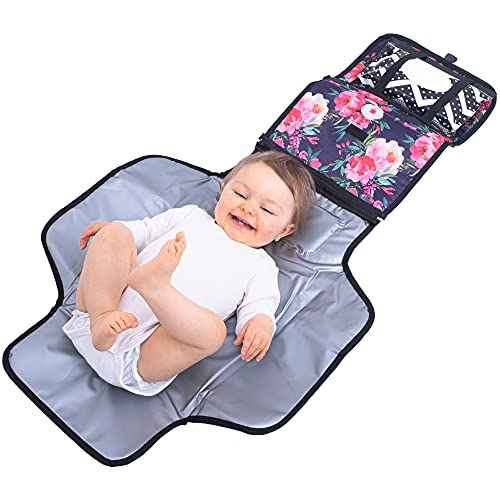 Bliss N Baby Portable Diaper Bag Pad for Parents- Perfect Travel Pad with Wet Wipe Pouch, Storage Space, Thick Foam Padded Extra Comfort & Waterproof