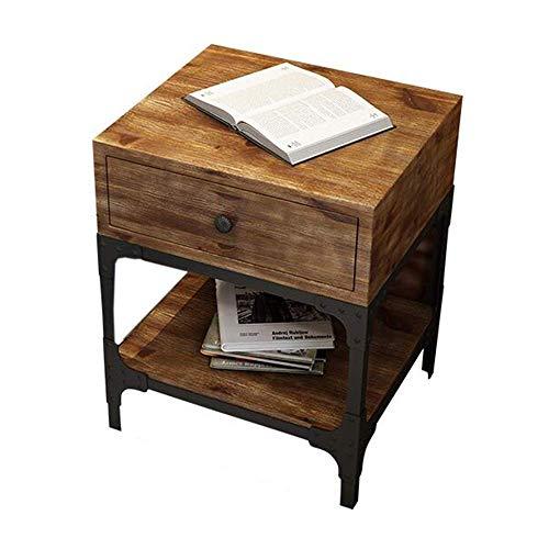 XBR Mobiler Beistelltisch, Tische American Village Rechteckiger Nachttisch aus Holz , Seite/Ende/Kaffee/Tisch, Nachttisch aus Kiefernholz mit Schublade zur Aufbewahrung, brauner Couchtisch Farbe: H