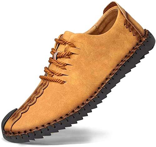 Zapatos de cuero casual de los hombres Zapatos Planos con Cordones hombre Oxford vestido mocasines zapatos de negocios hechos a mano mocasines de conducción de zapatos Amarillo 43EU