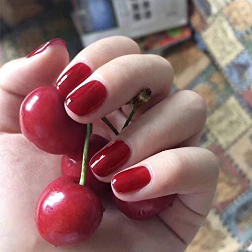 TseenYi Unghie Finte Quadrate a Tinta Unita Rosso Ciliegia Tinta Unita Unghie Finte per Donne e Ragazze (24 pezzi)