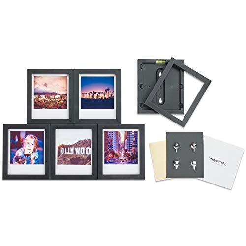 MAGNAFRAME Marco de fotos magnético para fotos Polaroid Mini – Galería de fotos (6 unidades), color negro