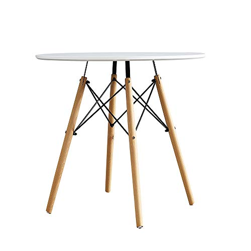 Comforyou White Round Dining Table Office Kitchen Modern Style Table Wood Legs (80CM)