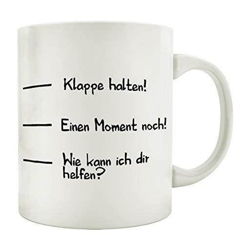 Interluxe Tasse Kaffeebecher Klappe HALTEN Skala Spruch Lustig Geschenk Shabby