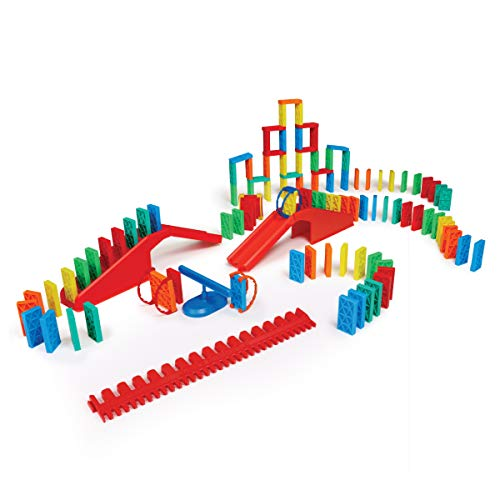 Bulk Dominoes Kinetic Toppling Kit 118pcs – Building and Stacking and Chain Reaction Toppling STEAM Toy Blocks for Kids