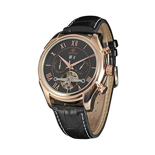 Reloj De Cuarzo Reloj Reloj Metal Reloj Vintage Estilo Vintage Reloj De Cuarzo PU Cuero Simple Business Muñequera Manas Accesorio (Black & Rose Gold)