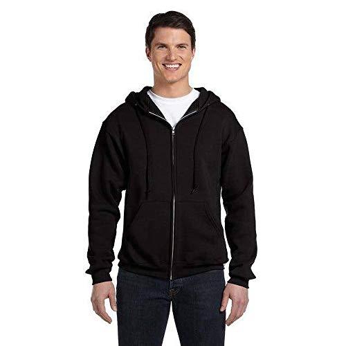 Russell Mens Authentic Full Zip Hooded Sweatshirt / Hoodie (XS) (Black)