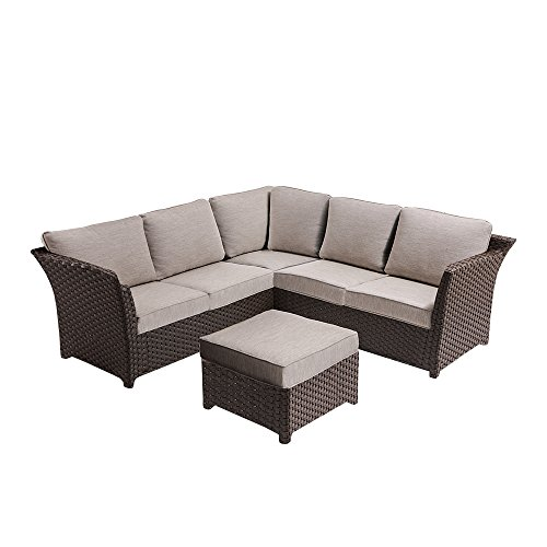 Ove Decors CLARA 3 Piece Outdoor Sectional Seating Group Set with Cushions