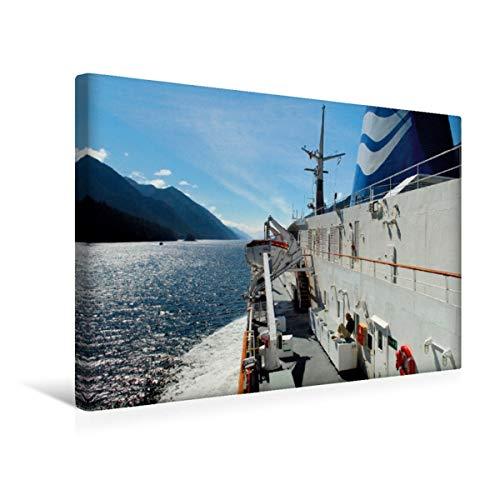CALVENDO Premium Textil-Leinwand 45 x 30 cm Quer-Format Fährfahrt durch den Douglas Channel, Leinwanddruck von Dieter Wilczek