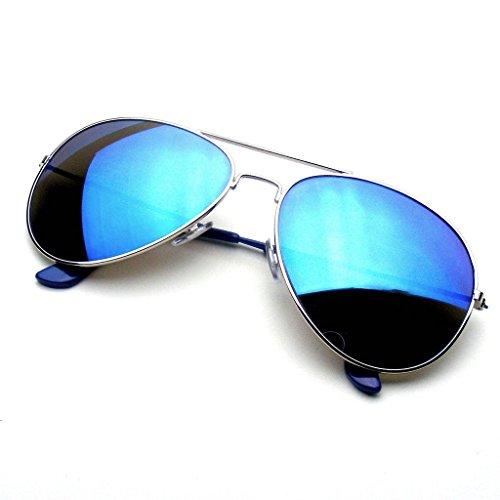 Emblem Eyewear Occhiali Da Sole Aviatore Con Mirroring Completo Di Specchio Flash Di Riflettente Classic Premium (Blu)