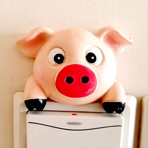 Europäischen Stil Kreative Schalter-set, Lampe Steckdose Dekoration Wandpaste, Harz Schutzhülle Tier Kopf Schalter Aufkleber Kleines rosa Schwein