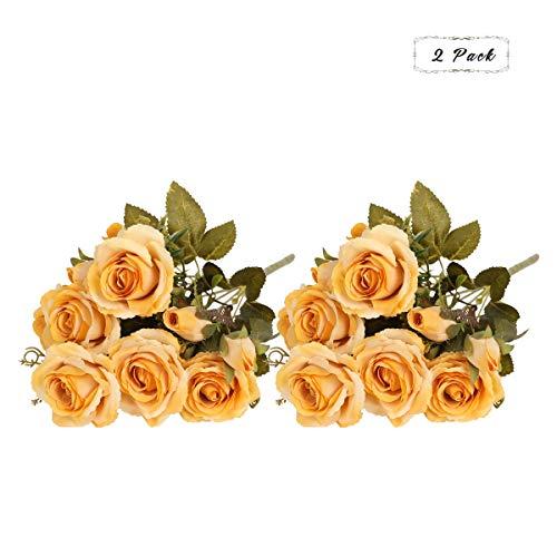 Tifuly Rosas Artificiales, 2 Ramos 12 Flores de Seda Cabezas de Flores Falsos capullos de Rosas para el hogar Oficina Hotel Decoración de la Boda, Arreglo Floral, Centros de Mesa(Amarillo)