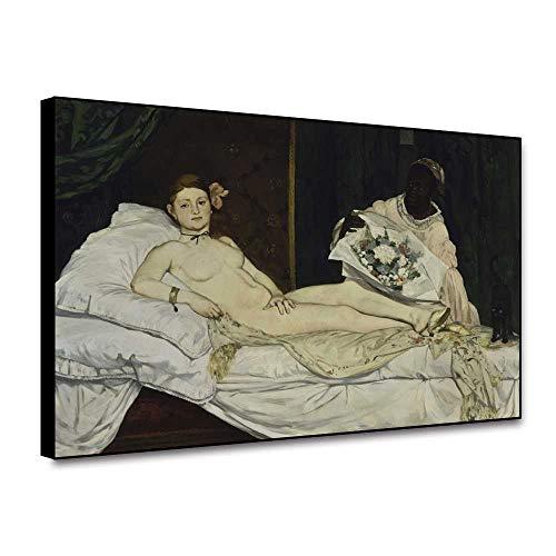 TUMOVO Lienzo de impresión 30x50cm sin Marco Olympia by Edouard Manet Art Classic Art Vintage Posters e Impresiones Imagen de Arte de Pared para decoración de Sala de Estar