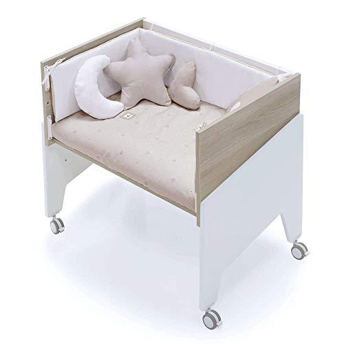 Alondra - Minicuna Colecho EQUO LIFE (5 etapas) Madera y blanco + Set 3Textiles + Colchón antiahogo, convertible en: sillón + mesa + juguetero + colecho + minicuna) 7 alturas somier C1794-TX194