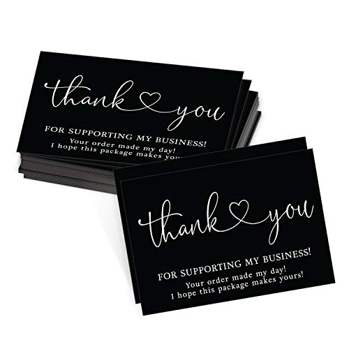 25 Black & White Thank You Cards for Small Business, We Appreciate You Supporting My Business Customer Appreciation Note Cards, Mini Thanks You Made My Day Cute Simple Purchase Order Inserts, 3.5x5