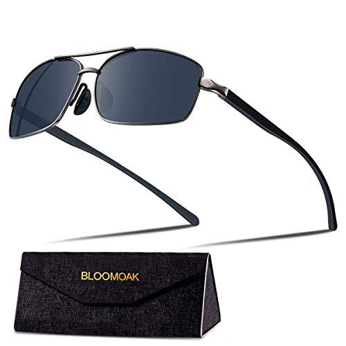 Bloomaok Polarisierte Sonnenbrille Herren Fahren Sonnenbrille 100% UV400 Schutz Polarisierte Outdoor Sportbrille Sonnenbrille mit Classic Al-Mg Metallrahmen (Schwarz)