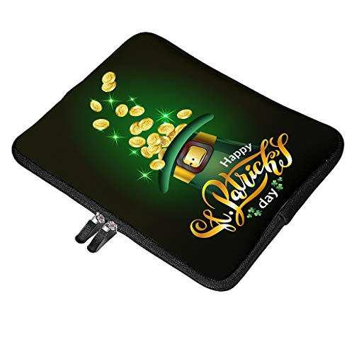 Funda multifuncional para portátil con asa compatible con el día de San Patricio, impermeable, resistente a los golpes, con bolsillo para accesorios, 35 x 26 x 1,5 cm, color blanco