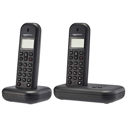 AmazonBasics - Teléfono fijo DECT con contestador automático, juego de 2, negro