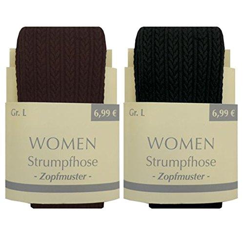 Art-of-Baan Damen Strumpfhose mit Muster Zopf Braun S